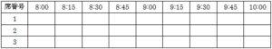 座席回転率調査の表