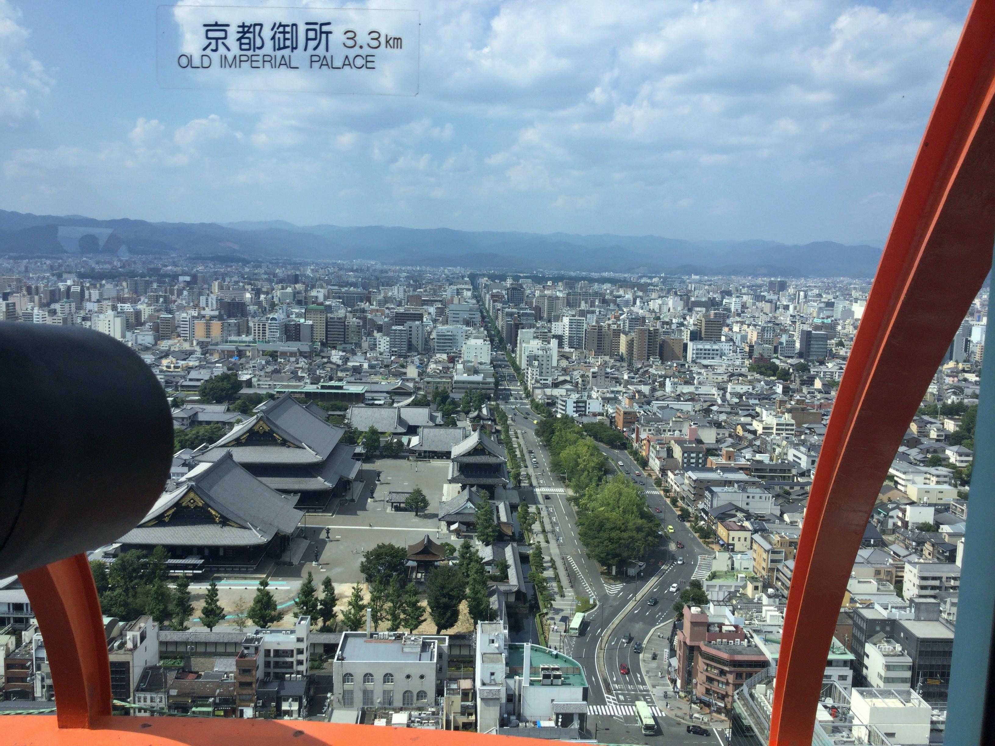 東本願寺、京都御所、府庁、西陣、二条城方面